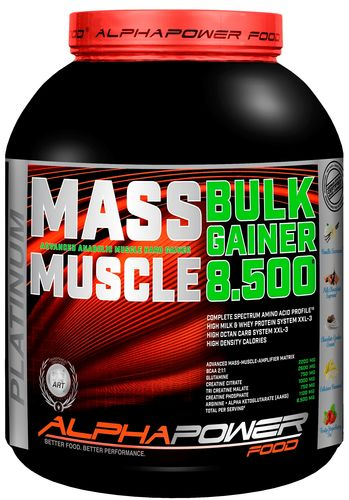 ALPHAPOWER FOOD:100%Massive Bulk-Muscle HardGainer 2000 g can Milk Chocolate Supreme